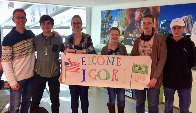 Host family exchange student arrival